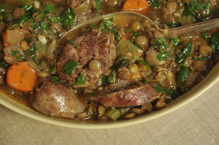 Lentil and Sausage Soup for a Cold Winter's Night