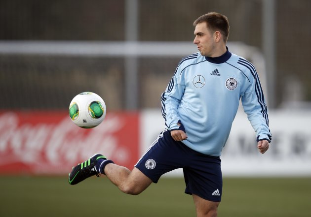 Germany's Lahm attends a training session ahead of their 2014 World Cup qualifying soccer match against Kazakhstan in Frankfurt