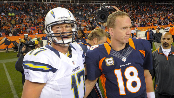 San Diego Chargers quarterback Philip Rivers (17) meets Denver Broncos quarterback Peyton Manning (18) at midfield after playing in an NFL football game, Sunday, Nov. 18, 2012, in Denver. The Broncos won 30-23. (AP Photo/Jack Dempsey)