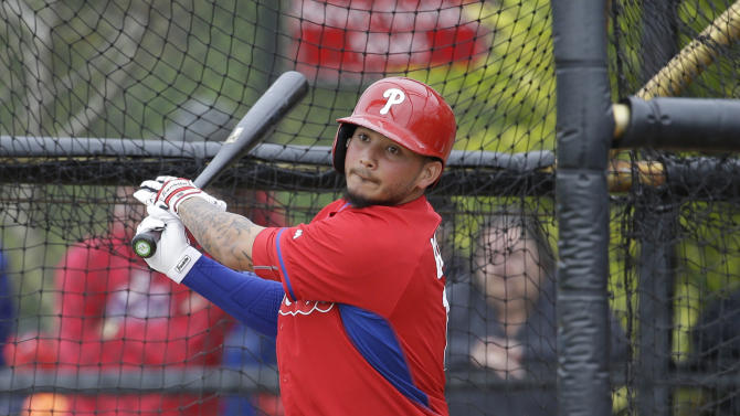 Philadelphia Phillies' Freddy Galvis takes batting practice during a spring training baseball workout, Friday, Feb. 27, 2015, in Clearwater, Fla. (AP Photo/Lynne Sladky)