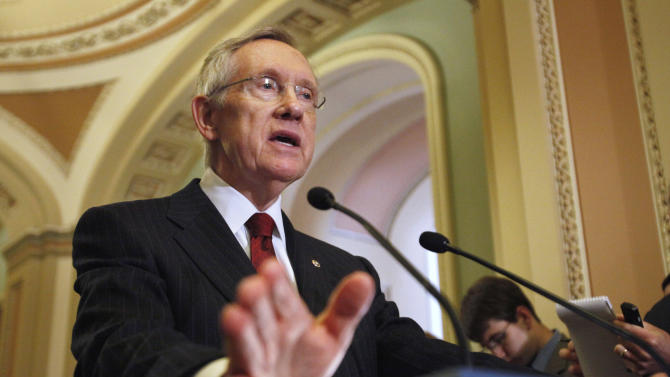 Senate Majority Leader Sen. Harry Reid of Nev. gestures during a news conference on Capitol Hill in Washington, Monday, Aug. 1, 2011,  to talk about debt ceiling legislation.  (AP Photo/Jacquelyn Martin)