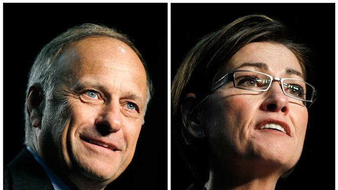 FILE - In this combination of June 26, 2010 file photos, Iowa Rep. Steve King, left, and Iowa Lt. Gov. Kim Reynolds speak at the Iowa Republican Party state convention in Des Moines, Iowa. King and Reynolds are weighing campaigns to capture a U.S. Senate seat after their longtime Democratic nemesis, Tom Harkin, announced in January that he was retiring. But months later, the GOP is no closer to naming a top-tier candidate to run in the 2014 election. (AP Photo/Charlie Neibergall, File)