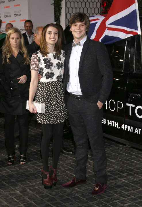 Emma Roberts and Evan Peters attend the Topshop Topman LA Opening Party At Cecconi's in Los Angeles, on Wednesday, Feb. 13, 2013 in Los Angeles. (Photo by Todd Williamson/Invision for/AP)