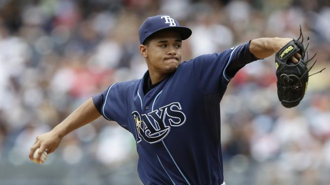 Tampa Bay Rays' Chris Archer delivers a pitch during the first inning of a baseball game against the New York Yankees Saturday, July 27, 2013, in New York. (AP Photo/Frank Franklin II)