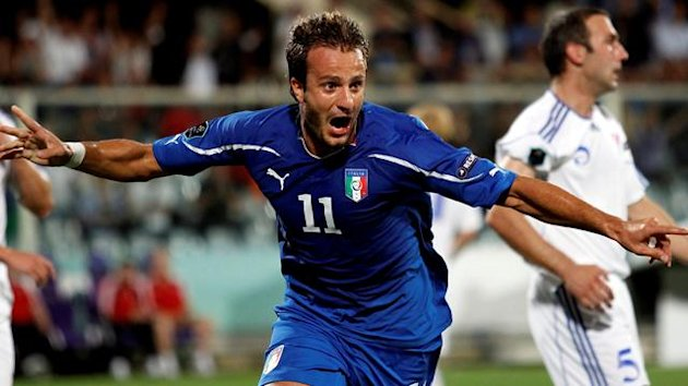 taly's Alberto Gilardino celebrates after scoring against Faroe Islands during their Euro 2012 qualifying match at the Artemio Franchi stadium in Florence