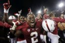 Stanford cornerback Wayne Lyons (2) celebrates after Stanford defeated Southern California 21-14 during an NCAA college football game in Stanford, Calif., Saturday, Sept. 15, 2012. (AP Photo/Marcio Jose Sanchez)