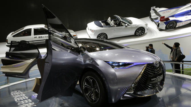 A Toyota FT-HT Yuejia concept car is displayed at the Shanghai International Automobile Industry Exhibition (AUTO Shanghai) in Shanghai, China, Wednesday, April 24, 2013. (AP Photo/Eugene Hoshiko)