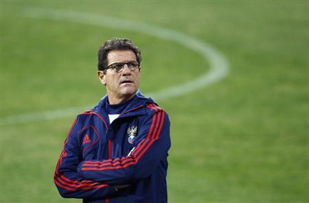 Russia's national team head coach Capello attends a training session ahead of their 2014 World Cup qualifying soccer match against Azerbaijan in Baku