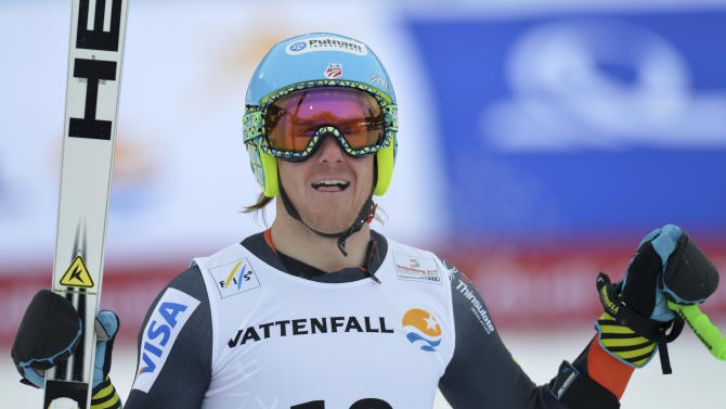 United States' Ted Ligety smiles during the men's super-G at the Alpine skiing world championships in Schladming, Austria, Wednesday, Feb.6,2013. (AP Photo/Kerstin Joensson)