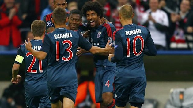 David Alaba (3rd R) celebrates with his team mates after he scored against CSKA Moscow during their Champions League group D first leg match (Reuters)