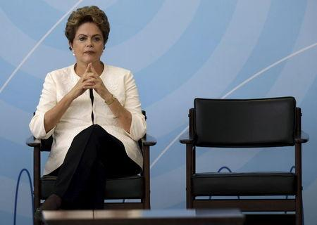 Brazil's President Dilma Rousseff looks on during a ceremony at the Planalto Palace in Brasilia