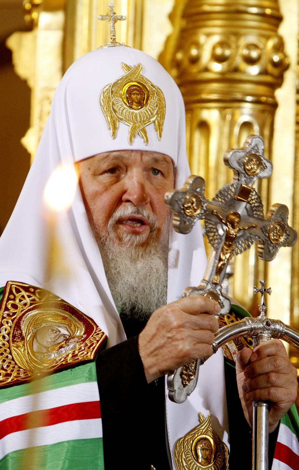Patriarch Kirill , leader of the Russian Orthodox Church, attends a Mass at the orthodox St. Mary Magdalene Cathedral in Warsaw, Poland, Thursday, Aug. 16, 2012. Patriarch Kirill came to Poland for a four day official visit. (AP Photo/Czarek Sokolowski)
