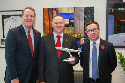 American Airlines CEO Doug Parker announces new service to Auckland and is welcomed to New Zealand by Prime Minister John Key and Qantas Group CEO Alan Joyce. American will fly to Auckland from its Los Angeles hub with a Boeing 787-8 Dreamliner beginning in June 2016.