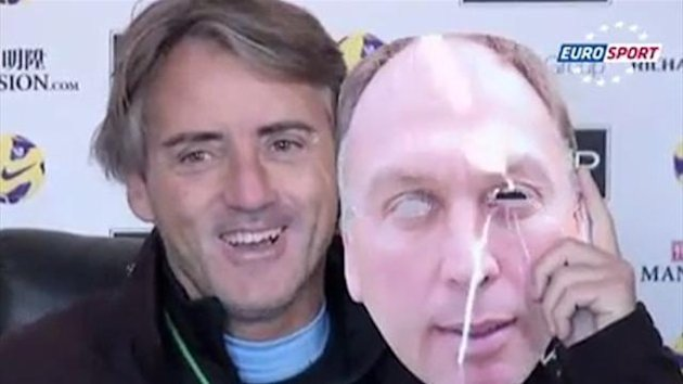 Roberto Mancini and his mask