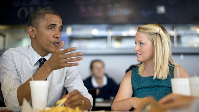 President Barack Obama visits Emily Young, first time voter, and student and University of Miami  at OMG Burger, Thursday, Sept. 20, 2012, in Miami, Fla.  (AP Photo/Carolyn Kaster)