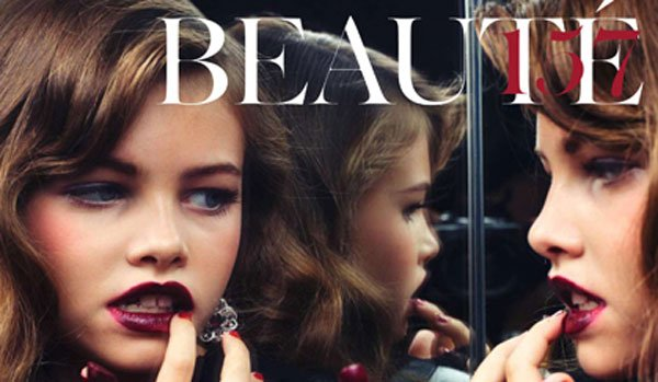 Thylane wearing heavy make-up, is this too grown up? Photo: Sharif Hamza for French Vogue.