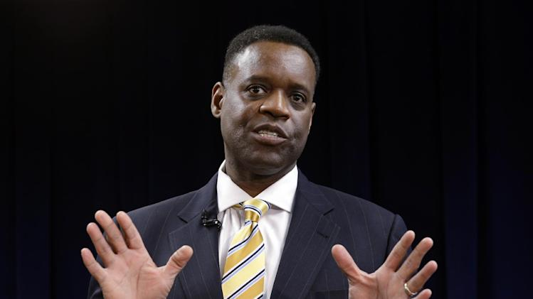 Kevyn Orr anwsers a question during a news conference in Detroit, Thursday, March 14, 2013. Gov. Rick Snyder announced that he had chosen Orr, a partner in the Cleveland-based law and restructuring Jones Day firm, as Detroit's emergency manager.  Snyder's already declared a financial emergency in Detroit, saying local officials lacked a plan to solve it. (AP Photo/Paul Sancya)