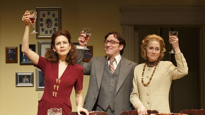 """This theater publicity image released by Boneau/Bryan-Brown shows Jessica Hecht, from left, Jeremy Shamos and Judith Light in a scene from """"The Assembled Parties, playing at the Samuel J. Friedman Theatre in New York. (AP Photo/Boneau/Bryan-Brown, Joan Marcus)"""