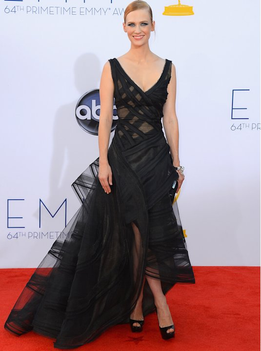 Emmys 2012: January Jones looks divine in a black cut-out mesh dress.