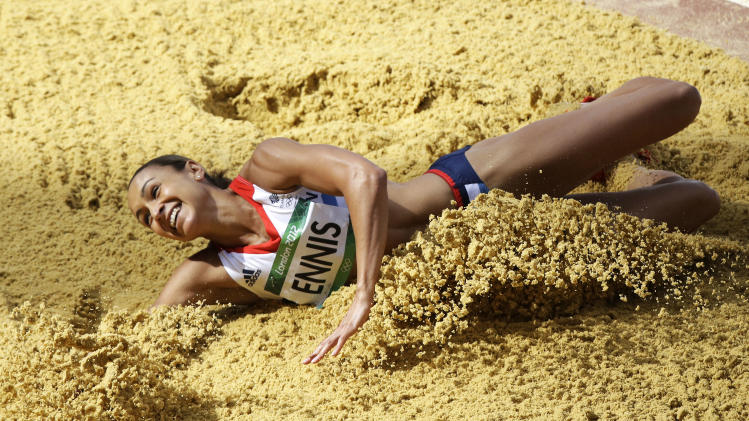 Britain's Jessica Ennis lands a jump during the long jump heptathlon during the athletics in the Olympic Stadium at the 2012 Summer Olympics, London, Saturday, Aug. 4, 2012. (AP Photo/Lee Jin-man)
