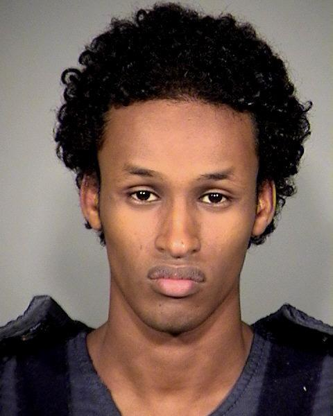 FILE - This Nov. 27, 2010 file photo provided by the Multnomah County Sheriff's Office shows Mohamed Mohamud. Justice Department attorneys Monday focused on the contact between the Oregon terrorism-sting suspect and suspected terrorists overseas in the opening salvo of their case. FBI agent Miltiadis Trousas said government agents first found Mohamud because of his emails to an American-born al-Qaida recruiter. (AP Photo/Mauthnomah County Sheriff's Office, File)