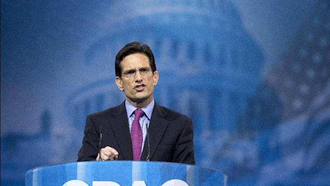 House Majority Leader Eric Cantor of Va. speaks at the 40th annual Conservative Political Action Conference in National Harbor, Md., Friday, March 15, 2013.  (AP Photo/Manuel Balce Ceneta)
