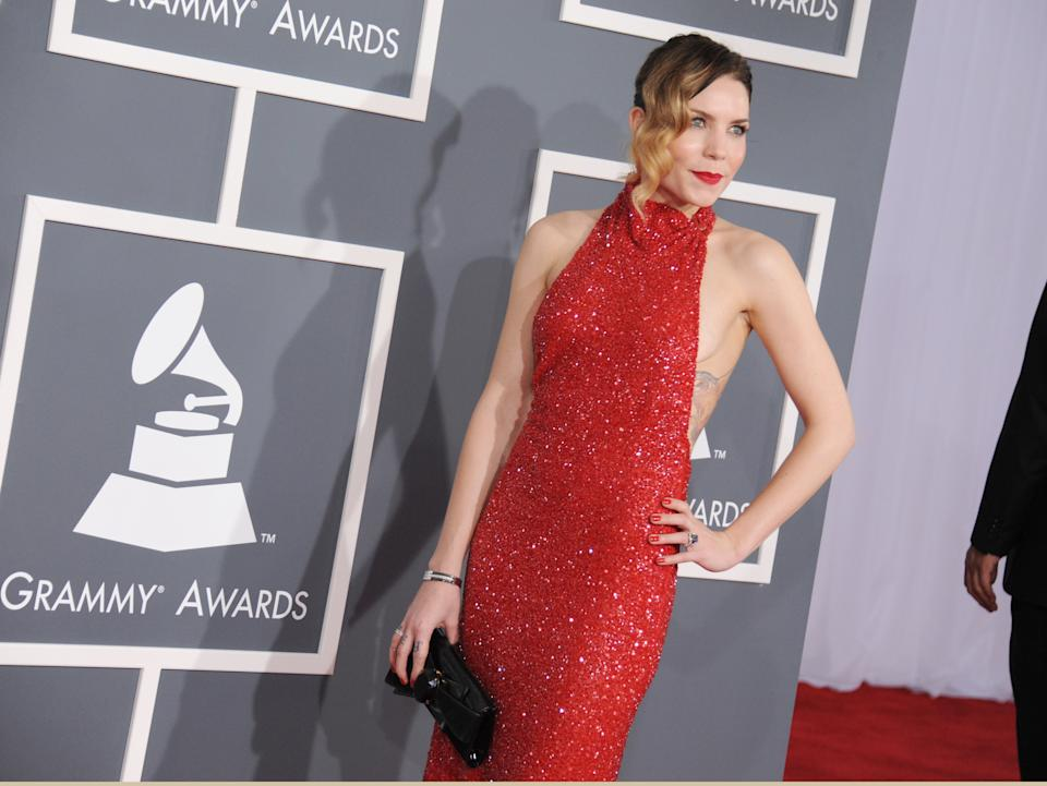 Skylar Grey arrives at the 55th annual Grammy Awards on Sunday, Feb. 10, 2013, in Los Angeles.  (Photo by Jordan Strauss/Invision/AP)