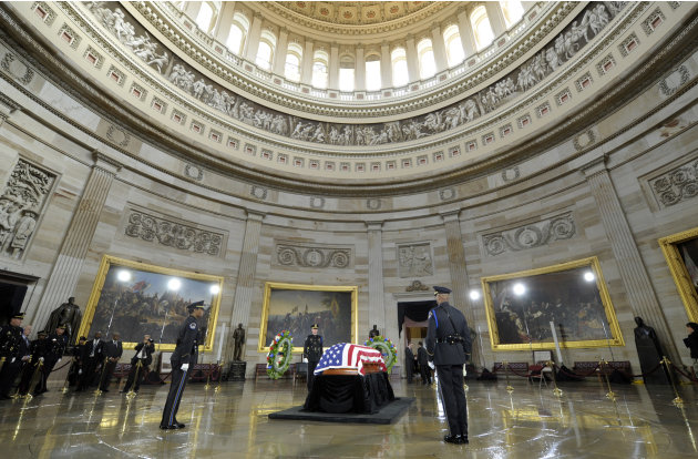 Sen. Daniel Inouye, D-Hawaii, the second-longest-serving senator in history, lies in state in the Capitol Rotunda in Washington, Thursday, Dec. 20, 2012. Inouye was a Medal of Honor recipient who repr