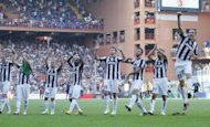 Juventus' players are seen celebrating after defeating Genoa 3-1 in their Italian Serie A match, on September 16, at Luigi Ferraris stadium in Genova. Juventus will look to add to the domestic woes of their title challengers when they host Chievo hoping to extend their unbeaten streak to 43 matches on Saturday