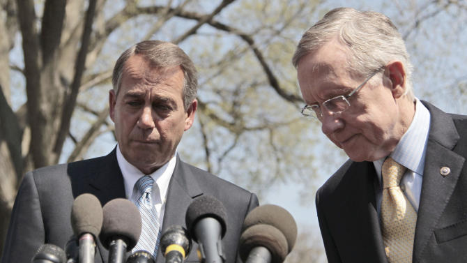 House Speaker John Boehner of Ohio, left, and Senate Majority Leader Harry Reid of Nev. meet with reporters outside the White House in Washington, Thursday, April 7, 2011, after their meeting with President Obama regarding the budget and possible government shutdown. (AP Photo/Pablo Martinez Monsivais)