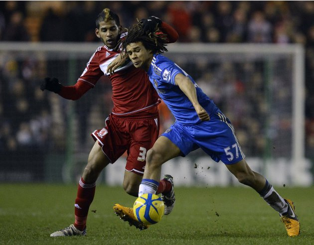 Chelsea's Ake challenges Middlesbrough's Haroun during their English FA Cup soccer match in Middlesbrough