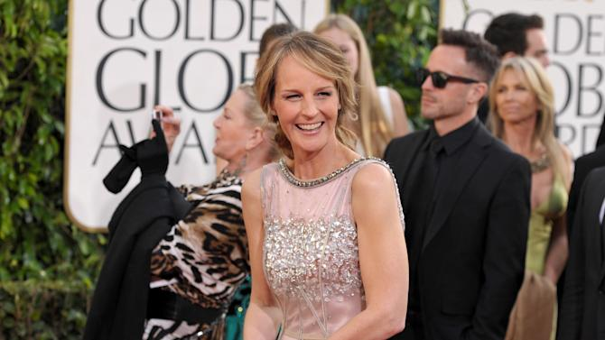 Actress Helen Hunt arrives at the 70th Annual Golden Globe Awards at the Beverly Hilton Hotel on Sunday Jan. 13, 2013, in Beverly Hills, Calif. (Photo by John Shearer/Invision/AP)