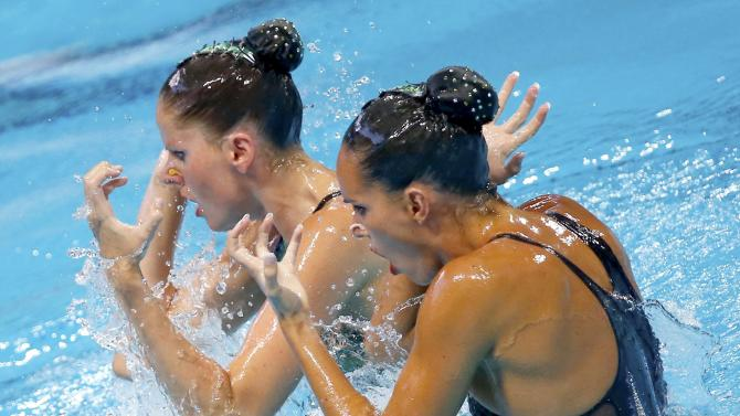 Spain's Carbonell and Klamburg perform during synchonised swimming duet free final at Aquatics World Championships in Kazan