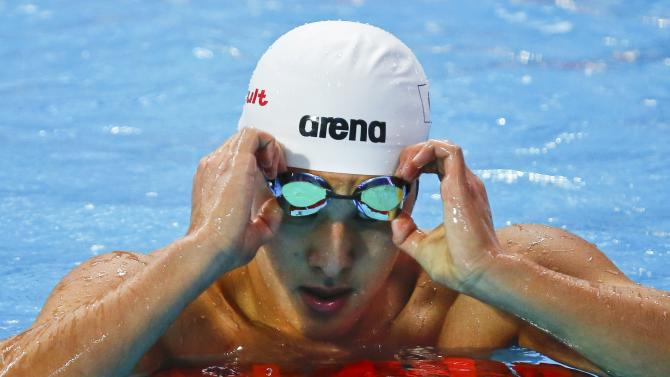 Seto of Japan reacts after the men's 200m butterfly heats at the Aquatics World Championships in Kazan
