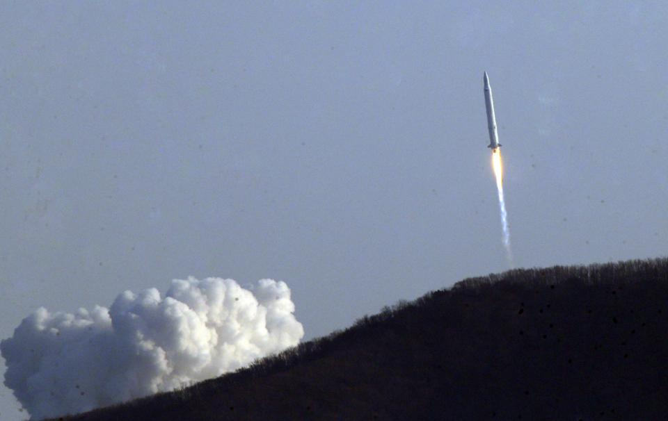 A South Korean rocket lifts off from a launch pad at the Naro Space Center in Goheung, South Korea, Wednesday, Jan. 30, 2013. South Korea said it has successfully launched a satellite into orbit from its own soil for the first time. (AP Photo/Seo Myung-gon, Yonhap) KOREA OUT
