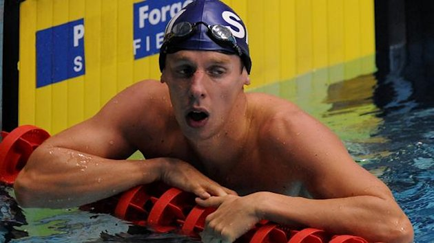 Stockport Metro's David Carry after finishing his heat of the Men's Open 100m Freestyle