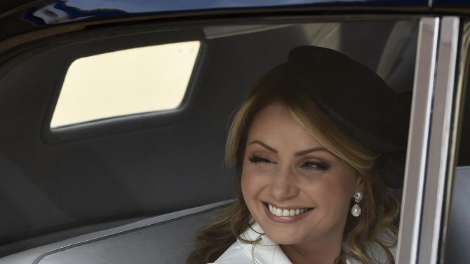 Angelica Rivera the wife of Mexico's President Enrique Pena Nieto smiles as she arrives to a ceremonial welcome at Horse Guards Parade in London