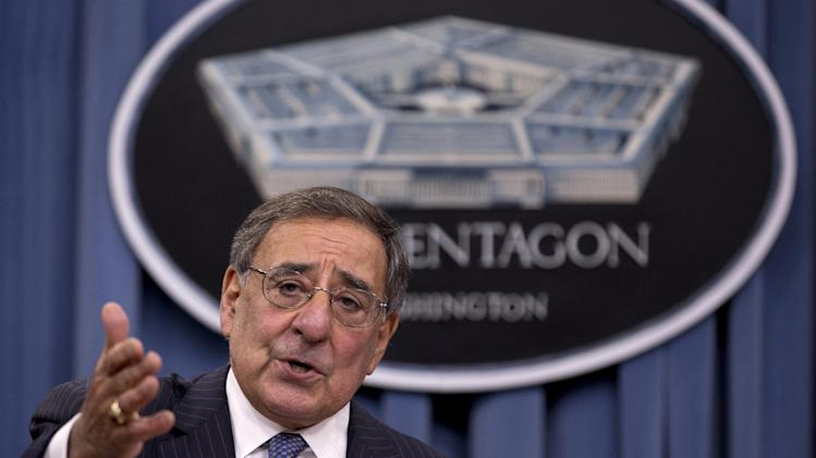 FILE - This Oct. 25, 2012 file photo shows Defense Secretary Leon Panetta gestureing as he speaks during a joint news conference at the Pentagon. New Pentagon details show that the first U.S. military unit arrived in Libya more than 14 hours after the attack on the consulate in Benghazi was over and four Americans, including the ambassador, were dead.  (AP Photo/Carolyn Kaster, File)