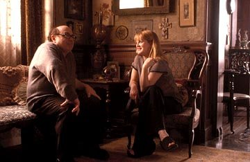 Danny DeVito and Drew Barrymore in Miramax's Duplex