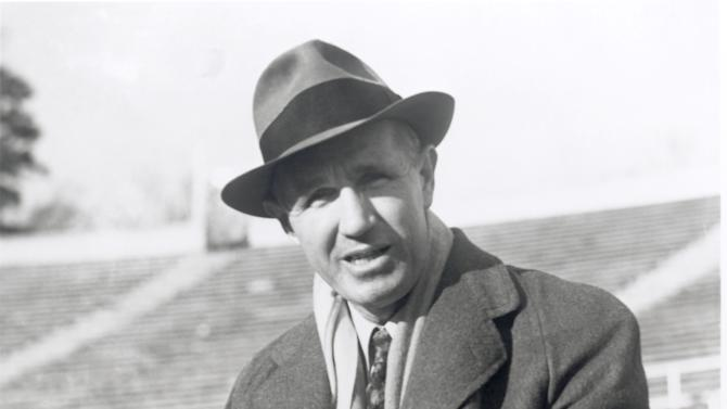 In this image released by the Bryant Museum, Alabama football coachWallace Wade at the stadium in Tuscaloosa, Ala. At a time when college football was generally considered the domain of eastern blue bloods, Notre Dame and Alabama were upstart teams that gave blue collar fans a chance to tweak the elite. About 90 years later, the Fighting Irish and Crimson Tide are the elite - two of college football's signature programs, set to play a national championship next Monday in Miami that could break records for television viewership. (AP Photo/Bryant Museum via The Tuscaloosa News)