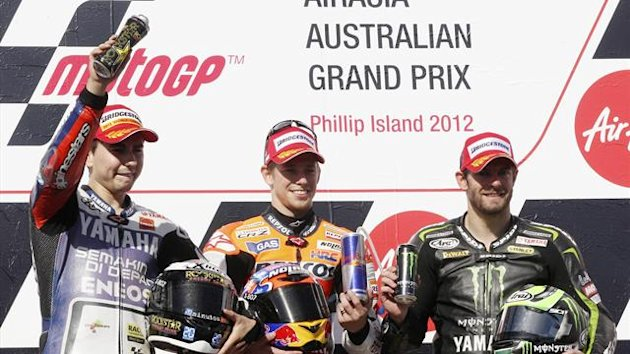 2012, Jorge Lorenzo, Casey Stoner, Cal Crutchlow, Phillip Island podium, Ap/LaPresse