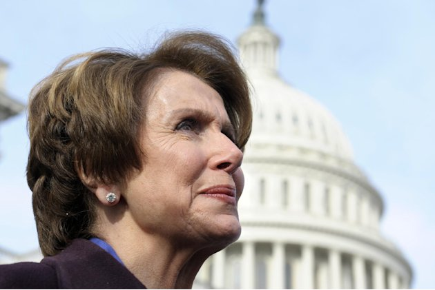 House Minority Leader Nancy Pelosi of Calif. is seen on Capitol Hill in Washington, Thursday, Jan. 3, 2013, as she poses with female House members prior to the officially opening of the 113th Congress