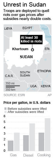 Graphic locates Khartoum in Sudan and charts increase in gas prices; 1c x 5 1/2 inches; 46.5 mm x 139 mm;