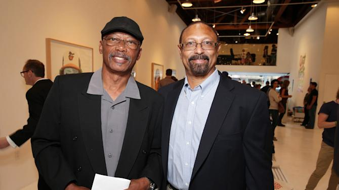 EXCLUSIVE CONTENT - PREMIUM RATES APPLY Former Dodgers players Darrell Thomas and Kenny Landreaux at Artist Pat Riot's Art Exhibit, 'Out of Left Field' benefiting the MLB Urban Youth Academy on Thusday, May, 23rd, 2013 in Los Angeles. (Photo by Eric Charbonneau/Invision for Protagonist Brand Management/AP Images)