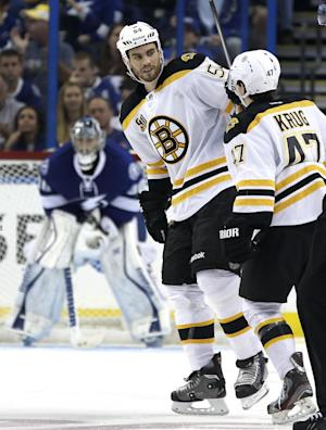 Rask makes 23 saves, Bruins blank Lightning 5-0