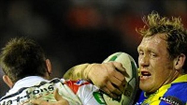 St Helens' James Roby, left, put the game beyond Warrington 10 minutes from time