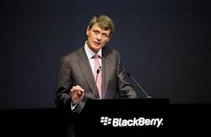 BlackBerry Chief Executive Thorsten Heins speaks at the company's annual meeting in Waterloo