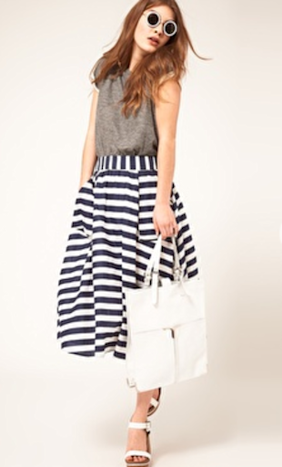 ASOS Full Striped Skirt