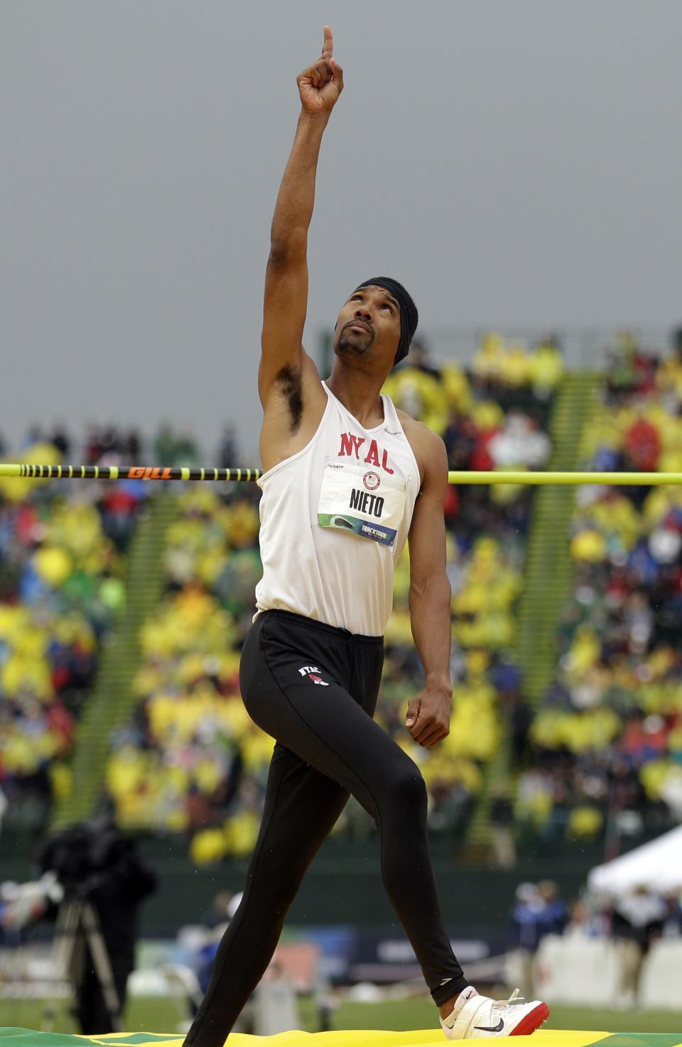 Jamie Nieto reacts while competing in the men's high jump finals at the U.S. Olympic Track and Field Trials Monday, June 25, 2012, in Eugene, Ore. (AP Photo/Marcio Jose Sanchez)