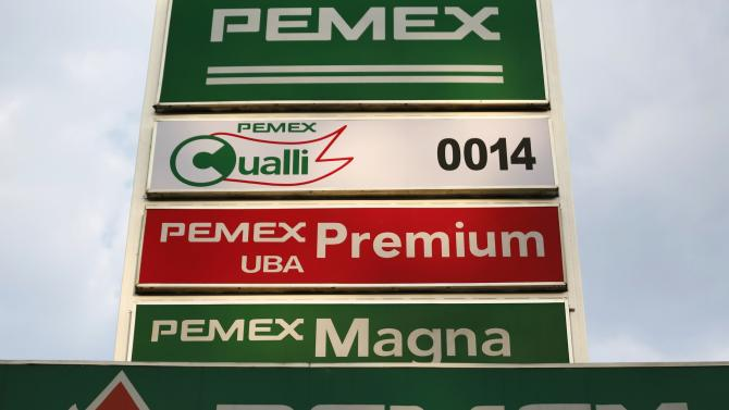 Logo of Mexican state-owned oil company Pemex is seen at its gas station in Mexico City
